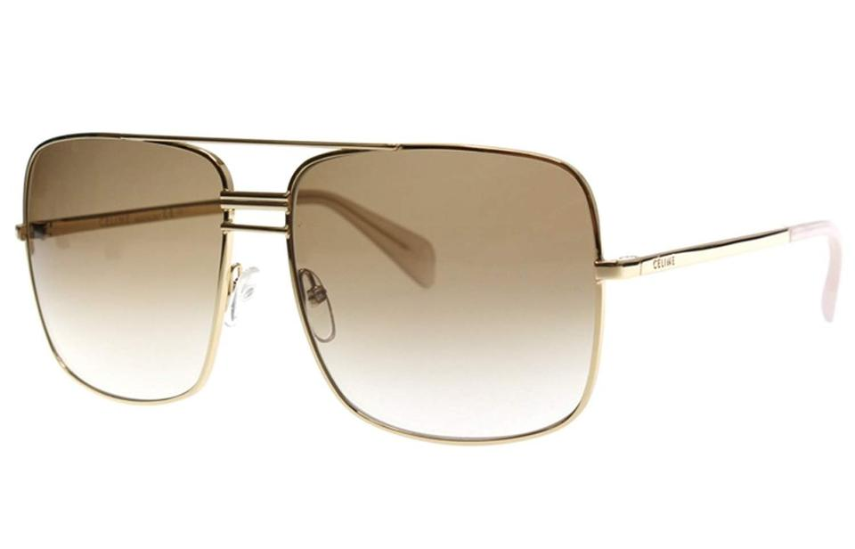 6bc864c03 Céline NEW Celine CL 41808/S Gold Brown Oversized Square Aviator Sunglasses  Image 0 ...