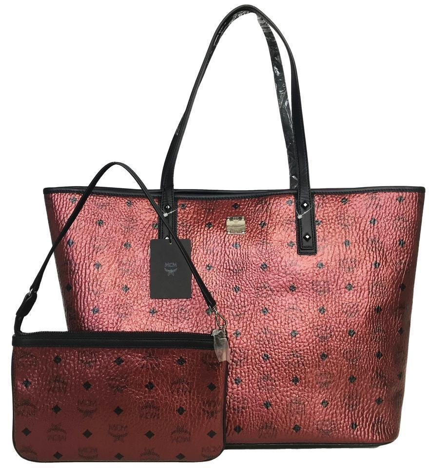 2e31a8d9c10 MCM Bag Large Anya Metallic Monogram Zip Mwp8sf051tl001 Red Canvas Tote 35%  off retail