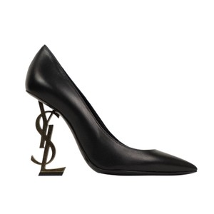 Saint Laurent Logo Pointed Toe Leather Classic Black/Gold Pumps