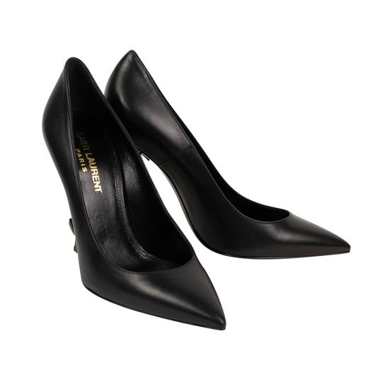 Saint Laurent Logo Pointed Toe Leather Classic Black/Gold Pumps Image 1