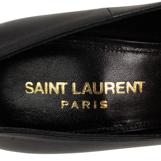 Saint Laurent Logo Pointed Toe Leather Classic Black/Gold Pumps Image 5