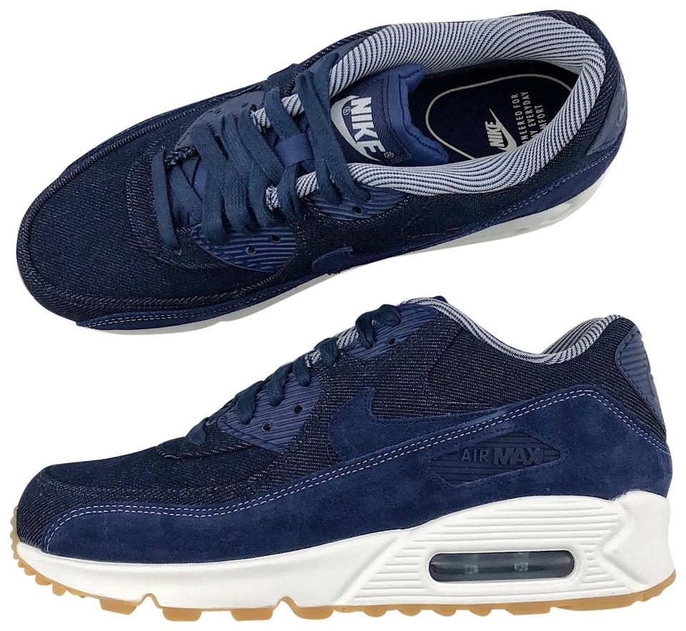 Nike Blue Women's Air Max 90 Se Denim Makes Excellent Use Of Colorway and Smooth Fuse Layering Across The Toe and A Sneakers Size US 7.5 Narrow (Aa,