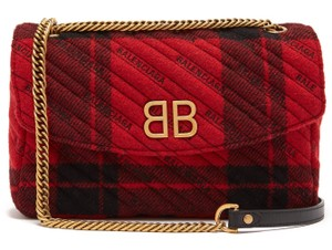 Balenciaga Plaid Plaid Round Logomania Shoulder Bag
