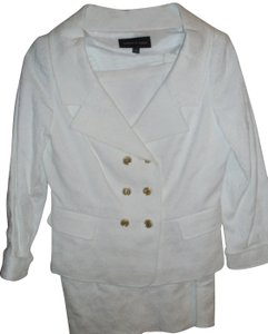 Isabel & Nina Gorgeous textured white tailored suit gold sailor buttons Lined XS 2
