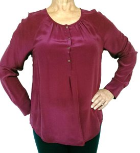 Madewell Silk Peasant Style Merlot Color Long Sleeves Top Broadway & Broome,