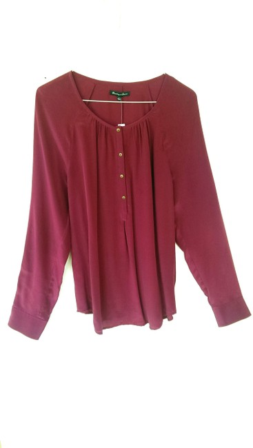 Madewell Silk Peasant Style Merlot Color Long Sleeves Top Broadway & Broome, Image 1