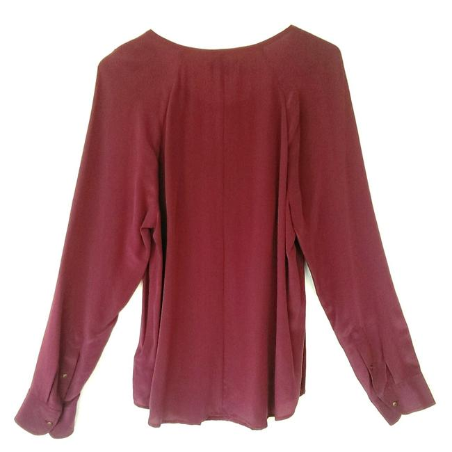 Madewell Silk Peasant Style Merlot Color Long Sleeves Top Broadway & Broome, Image 2