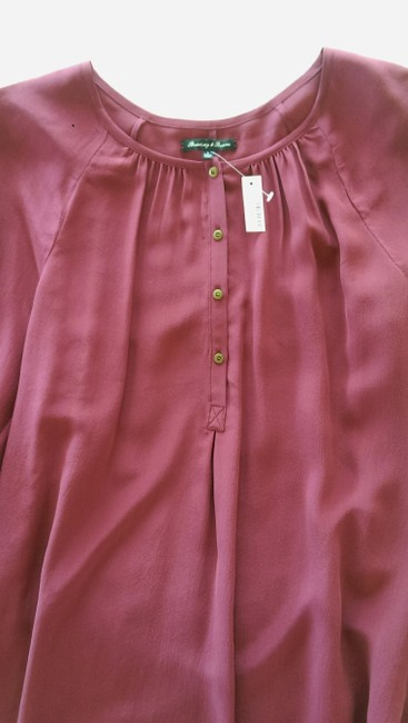 Madewell Silk Peasant Style Merlot Color Long Sleeves Top Broadway & Broome, Image 3