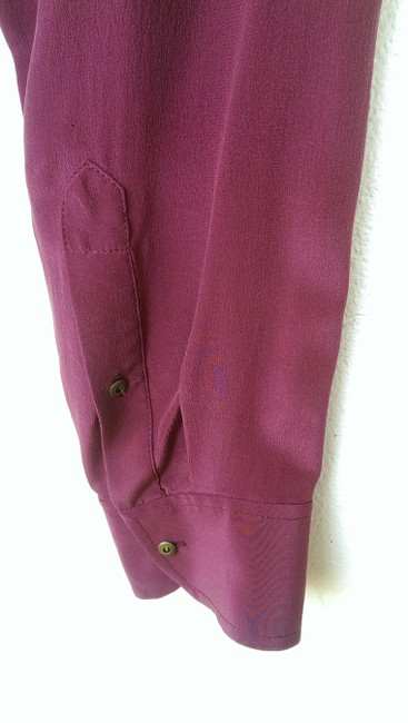 Madewell Silk Peasant Style Merlot Color Long Sleeves Top Broadway & Broome, Image 4