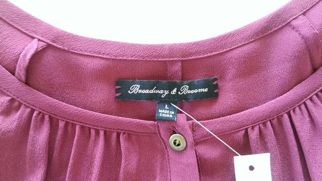 Madewell Silk Peasant Style Merlot Color Long Sleeves Top Broadway & Broome, Image 7