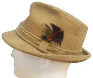 Mens Designer Collection Men's Designer Collection Corduroy Fedora Feather Hat