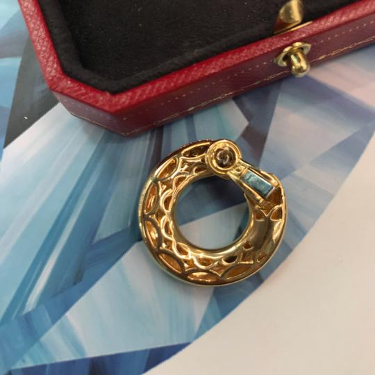 Cartier Gold Panthere Emerald Eyes Diamond Round Pierced Hoop Image 1
