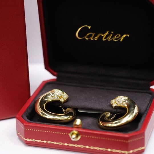Cartier Gold Panthere Emerald Eyes Diamond Round Pierced Hoop Image 3