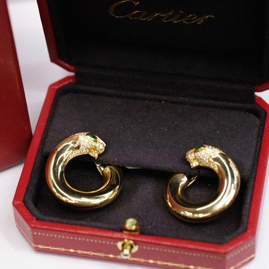 Cartier Gold Panthere Emerald Eyes Diamond Round Pierced Hoop Image 4