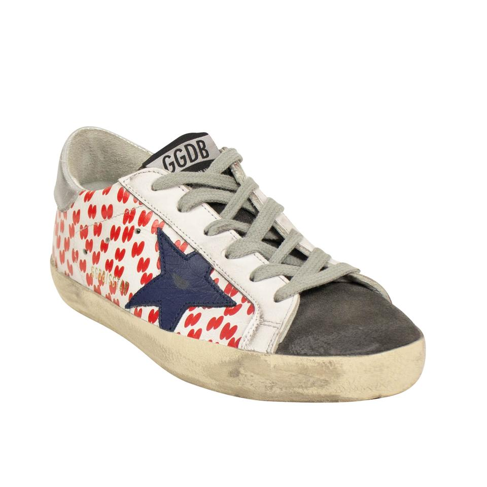 3eacb680b74c Golden Goose Deluxe Brand White/Red Aged Superstar Rice Printed Sneakers