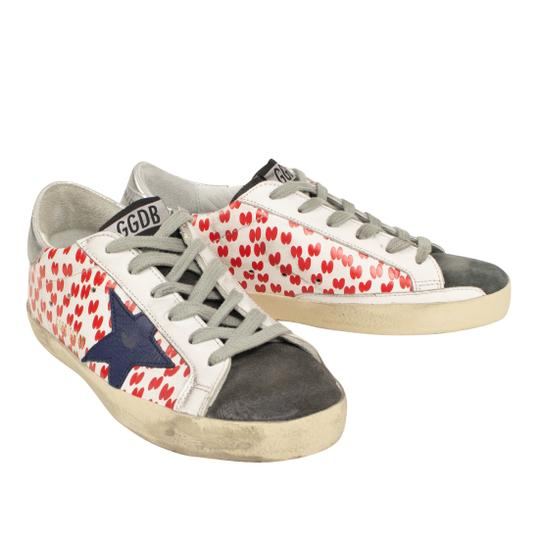 Golden Goose Deluxe Brand Sneakers Leather Applique Star Print White/Red Athletic Image 1