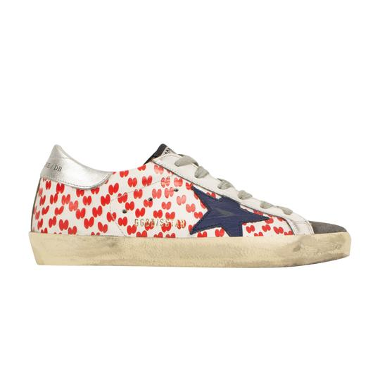 Golden Goose Deluxe Brand Sneakers Leather Applique Star Print White/Red Athletic Image 2