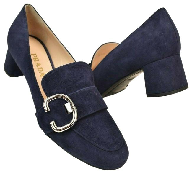 Prada Blue Navy Suede Silver Belted Buckle Logo Med Heel Loafers Pumps Flats Size EU 37.5 (Approx. US 7.5) Regular (M, B) Prada Blue Navy Suede Silver Belted Buckle Logo Med Heel Loafers Pumps Flats Size EU 37.5 (Approx. US 7.5) Regular (M, B) Image 1