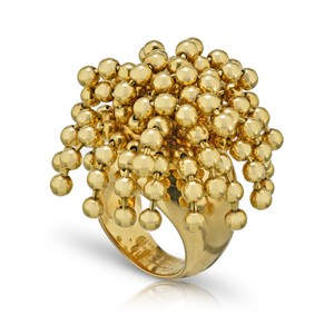 Cartier Nouvelle Vague Dangling Beads 18k Yellow Gold Ring Size 4.5