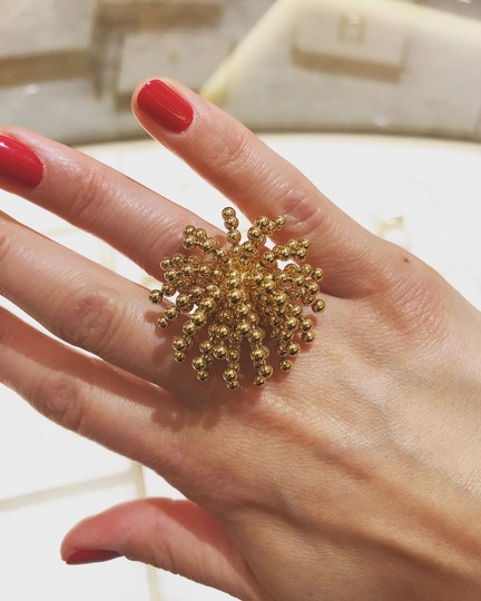 Cartier Nouvelle Vague Dangling Beads 18k Yellow Gold Ring Size 4.5 Image 1