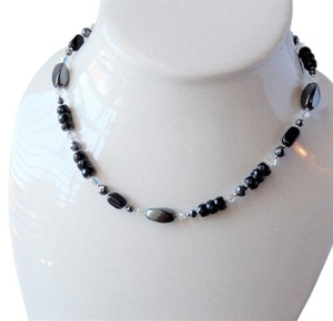 Handmade One of a Kind Sterling Silver Crystal Czech Glass Hematite Necklace