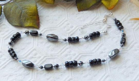 Handmade One of a Kind Sterling Silver Crystal Czech Glass Hematite Necklace Image 2