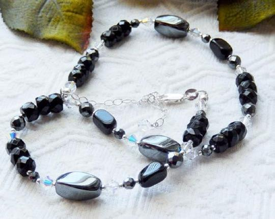 Handmade One of a Kind Sterling Silver Crystal Czech Glass Hematite Necklace Image 3