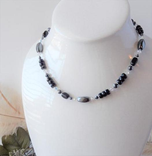 Handmade One of a Kind Sterling Silver Crystal Czech Glass Hematite Necklace Image 4