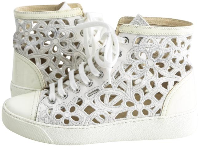 Item - White 14s High Top Round Toe Camelia Laser Cut Sneakers Size US 5 Regular (M, B)