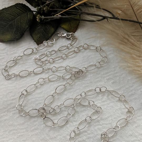 Handmade Handmade .925 Sterling Silver Large Patterned Oval & Round Link 42 In Image 3