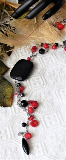 Handmade OOAK Long Handcrafted Black Onyx Crystal Red Coral Hematite Necklace Image 1