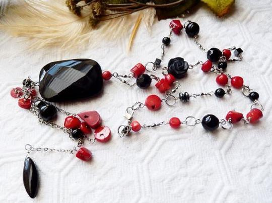 Handmade OOAK Long Handcrafted Black Onyx Crystal Red Coral Hematite Necklace Image 2