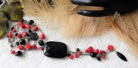 Handmade OOAK Long Handcrafted Black Onyx Crystal Red Coral Hematite Necklace Image 3