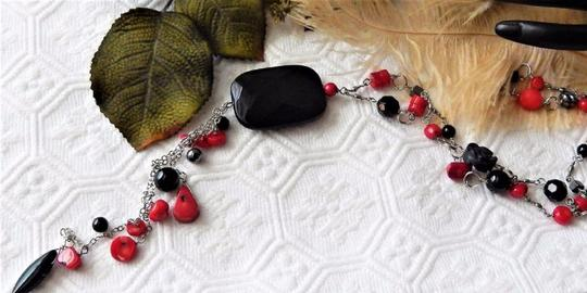 Handmade OOAK Long Handcrafted Black Onyx Crystal Red Coral Hematite Necklace Image 4