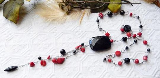 Handmade OOAK Long Handcrafted Black Onyx Crystal Red Coral Hematite Necklace Image 5