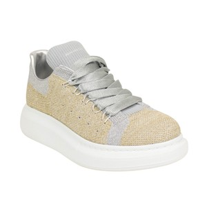 Alexander McQueen Knit Platform Embroidered Logo Rubber Gold/Silver Athletic