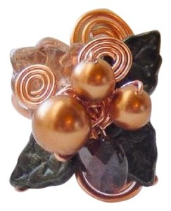 Handmade One of a Kind Copper Czech Glass Crystal Wire Wrapped Ring