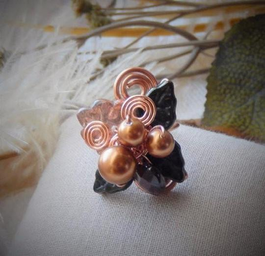 Handmade One of a Kind Copper Czech Glass Crystal Wire Wrapped Ring Image 1