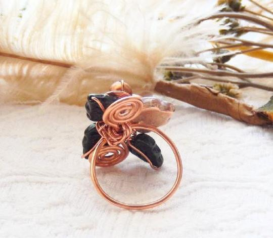 Handmade One of a Kind Copper Czech Glass Crystal Wire Wrapped Ring Image 2