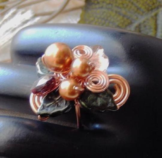 Handmade One of a Kind Copper Czech Glass Crystal Wire Wrapped Ring Image 3