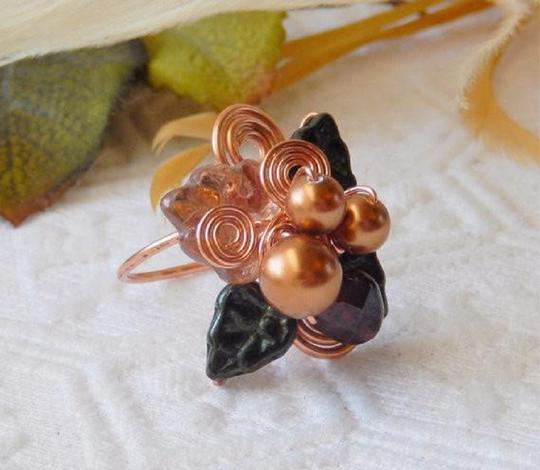 Handmade One of a Kind Copper Czech Glass Crystal Wire Wrapped Ring Image 4