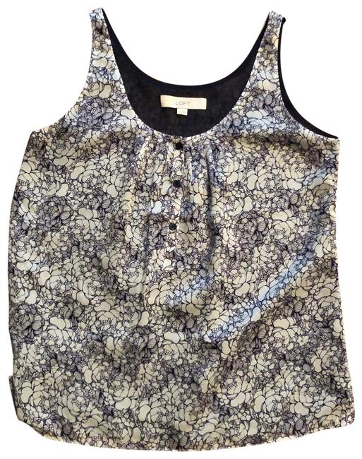 Preload https://img-static.tradesy.com/item/25552636/ann-taylor-loft-navy-and-white-flower-print-tank-topcami-size-2-xs-0-1-650-650.jpg