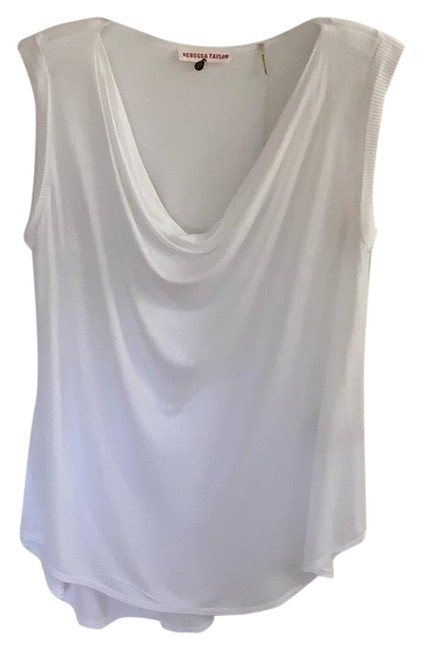 Rebecca Taylor White Sleeveless Drape Neck Tee Shirt Size 4 (S) Rebecca Taylor White Sleeveless Drape Neck Tee Shirt Size 4 (S) Image 1