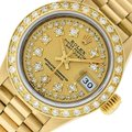 Rolex Ladies Datejust 18k Yellow Gold with String Diamond Dial Watch Image 0