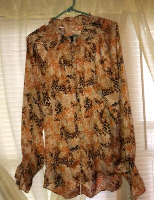 Peasant Blouse Essentials By Milano Extra Large Button Down Brown black gold Button Down Shirt Black gold brown Image 1