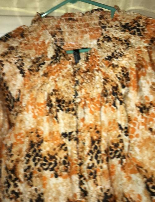 Peasant Blouse Essentials By Milano Extra Large Button Down Brown black gold Button Down Shirt Black gold brown Image 2