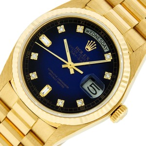 Rolex Mens Datejust 18k Yellow Gold with Diamond Dial Watch