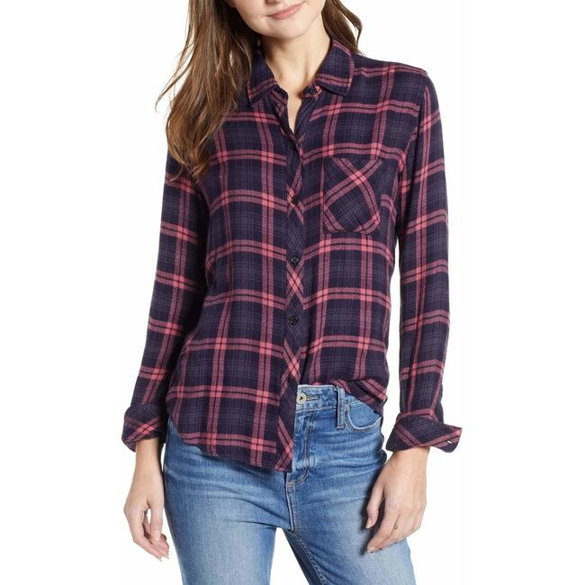 Rails Button Down Shirt navy red Image 1