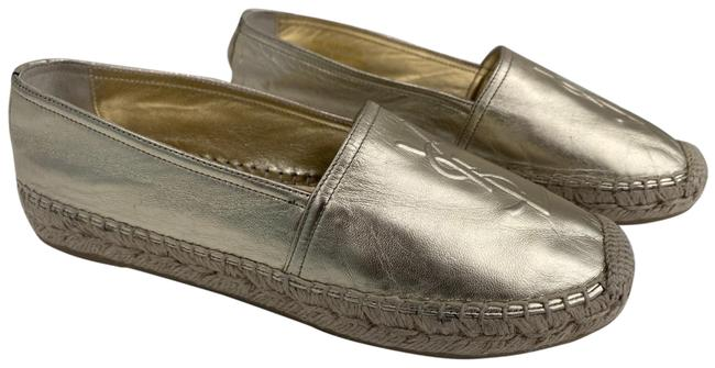 Item - Gold Metallic Leather Logo Espadrilles Flats Size US 6 Regular (M, B)