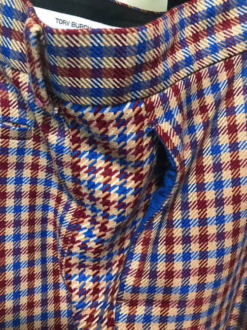 Tory Burch Trouser Pants Red and blue checkered Image 2